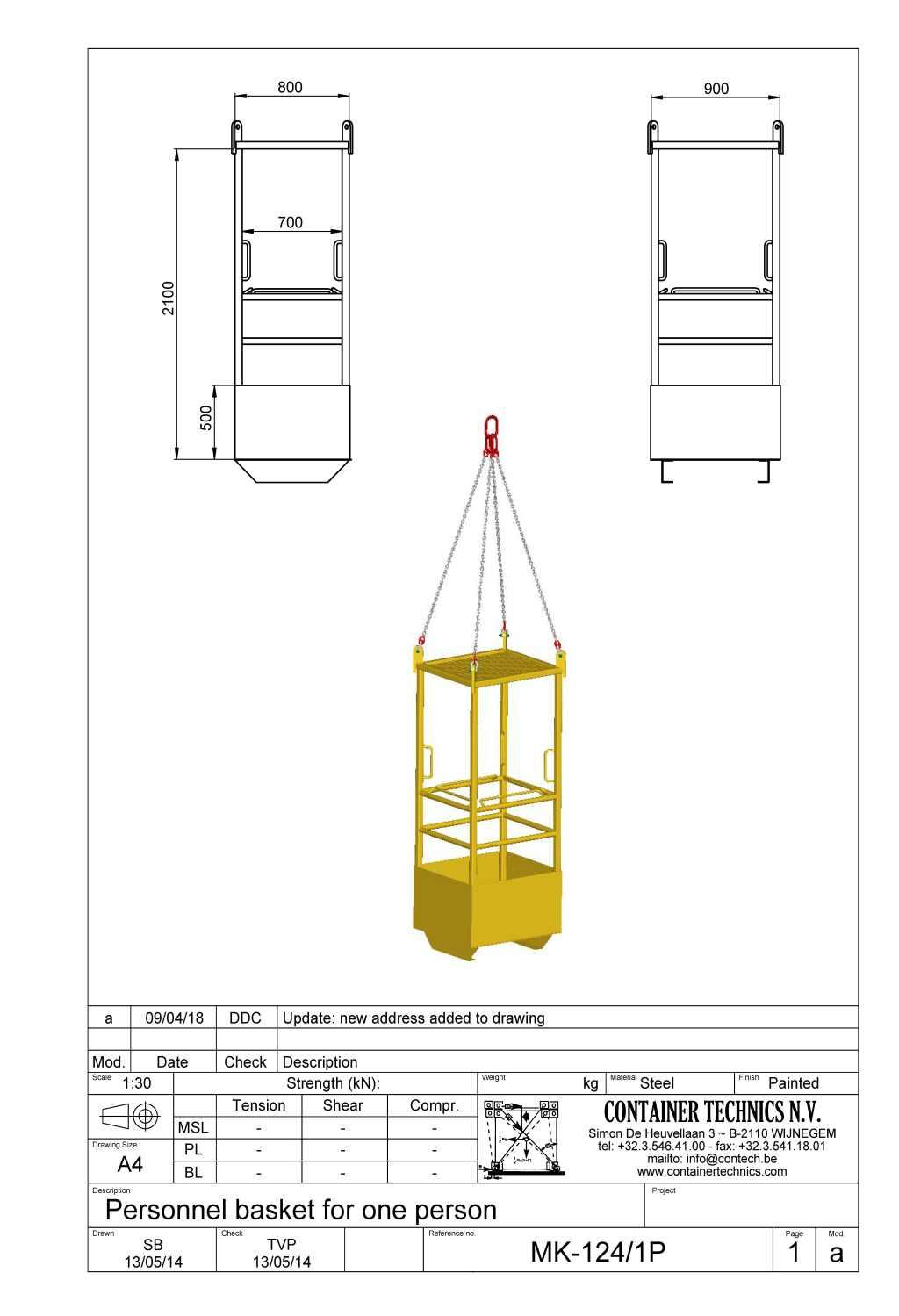 MK-124/1P Personnel lifting basket for 1 person