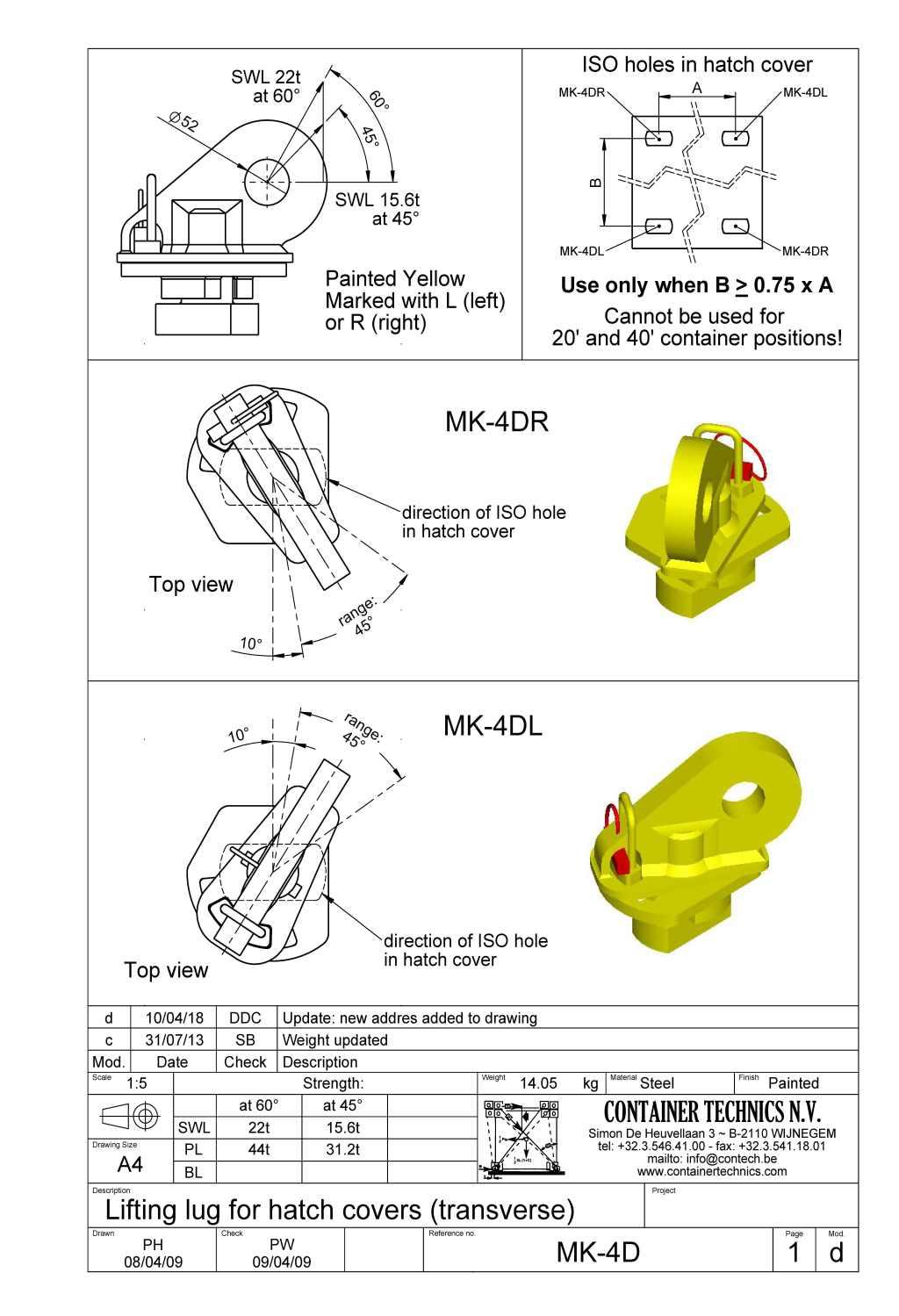 MK-4D traversal lifting lug for hatch cover