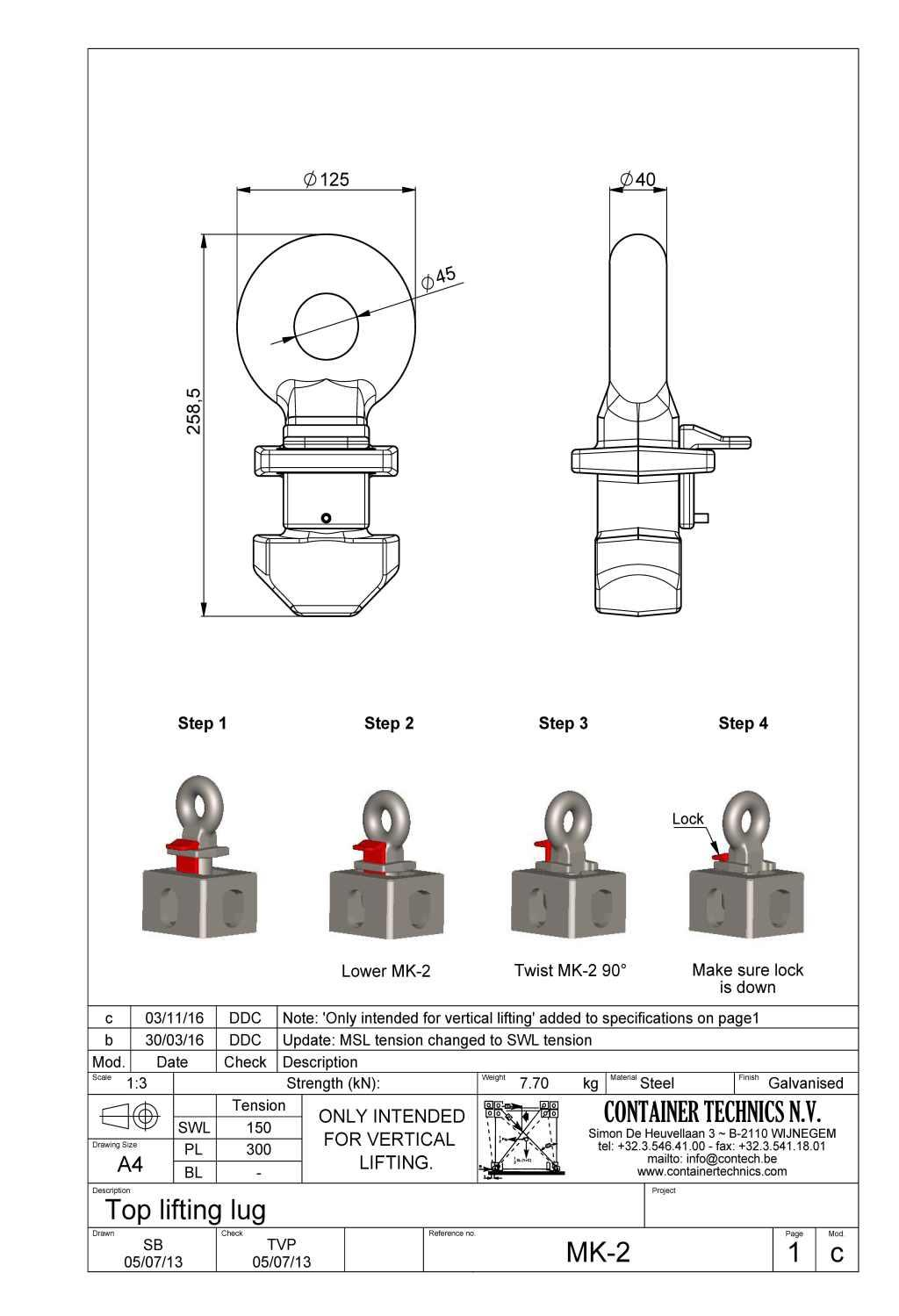 MK-2 TOP LIFTING LUG