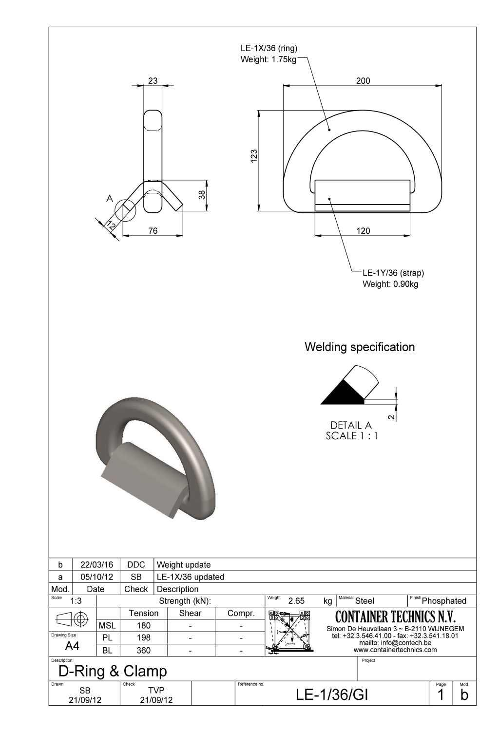 LE-1/36 D-RING WITH STRAP BL 36T