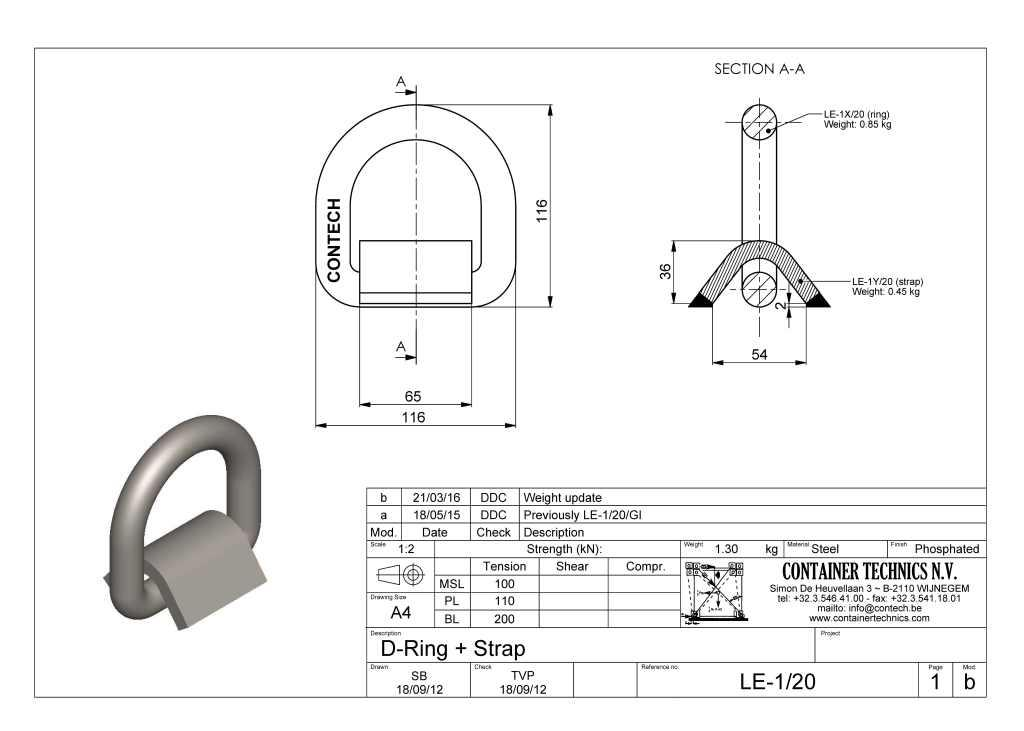 LE-1/20 D-RING WITH STRAP BL 20T