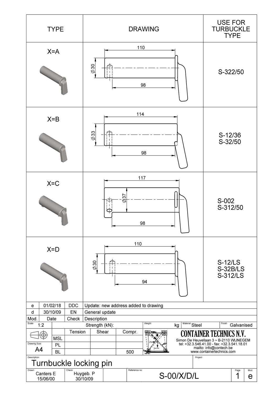 S-00 LOCKING PIN FOR TURNBUCKLE