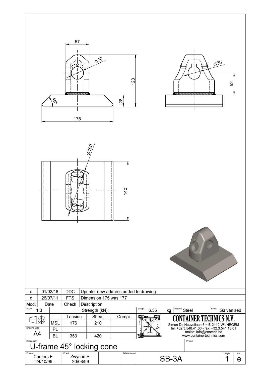 SB-3A U-Frame locking cone 45°