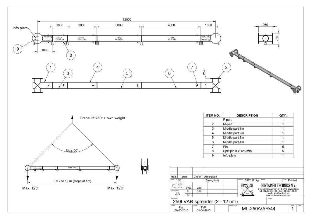 ML-250/var/44 250t SPREADER BEAM L= 2Mtr TO 12Mtr (one meter steps)