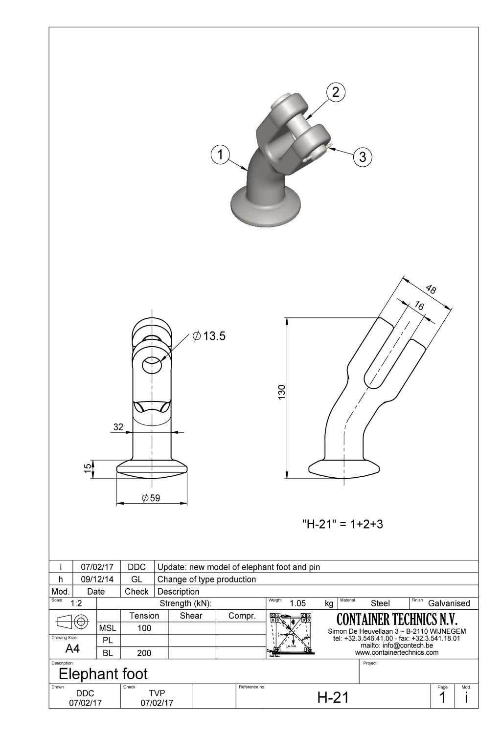H-21 CLEVIS ELEPHANT FOOT