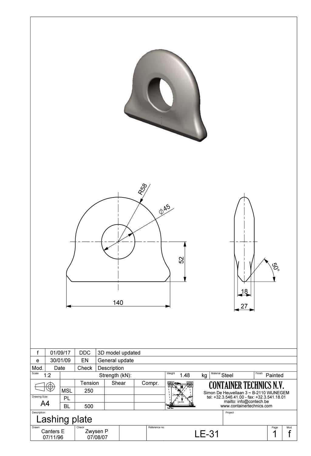 LE-31 SINGLE LASHING PLATE
