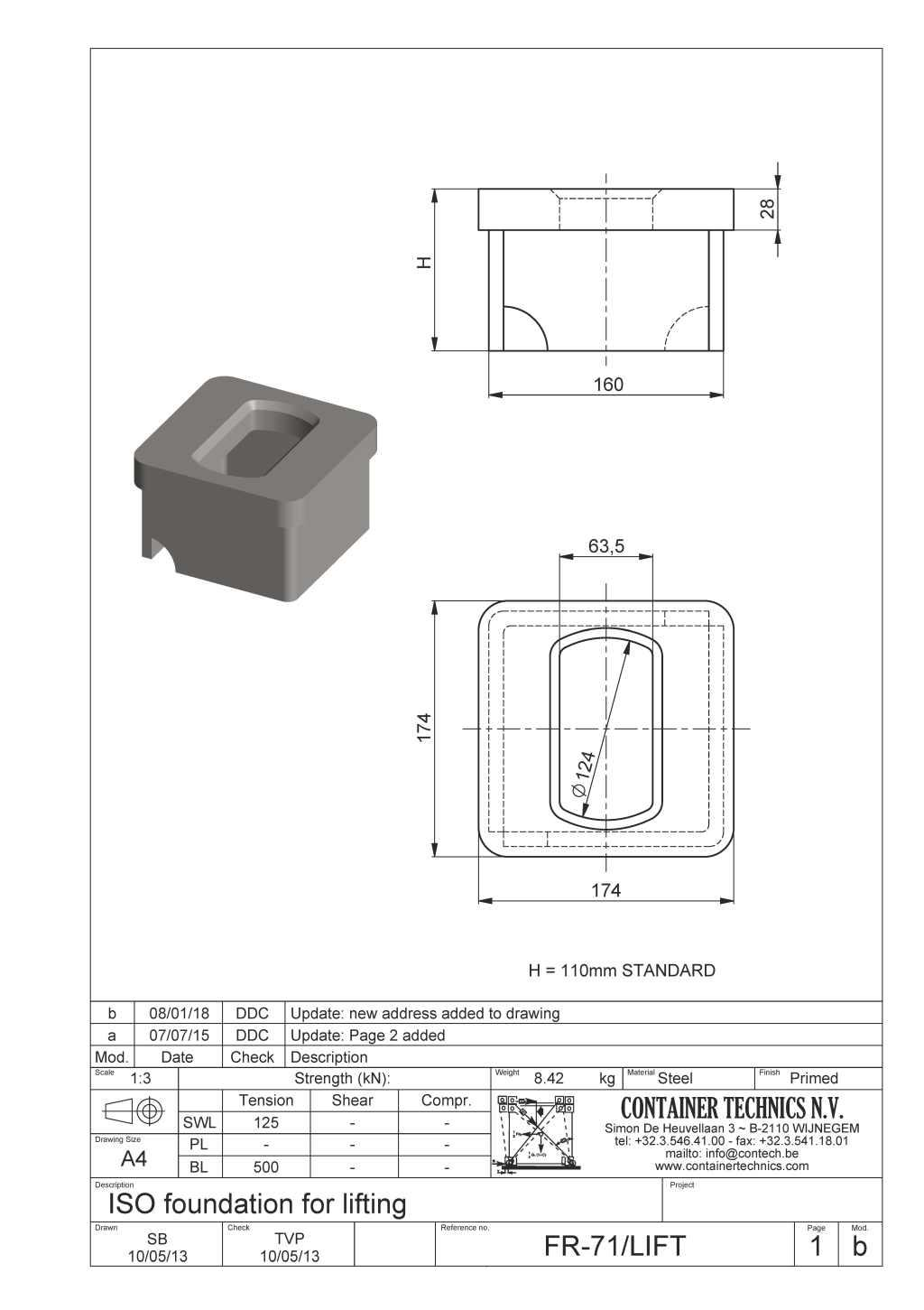 FR-71/LIFT lifting ISO socket