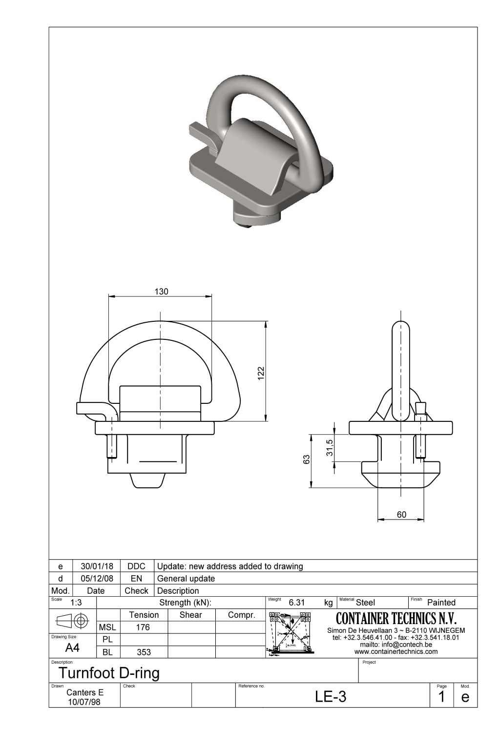 LE-3 TURNFOOT D-RING