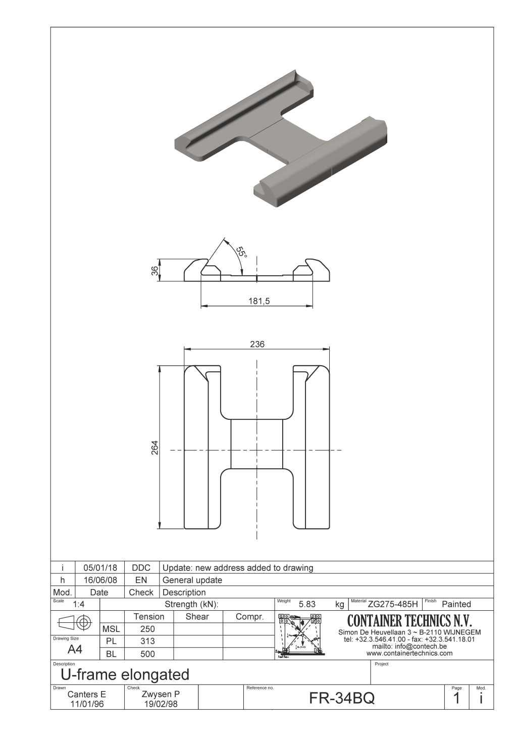 FR-34Q RAISED SINGLE U-FRAME FOUNDATION 55° ELONGATED