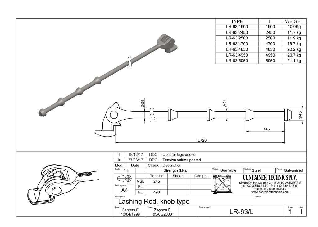 LR-63 LASHING ROD KNOB TYPE