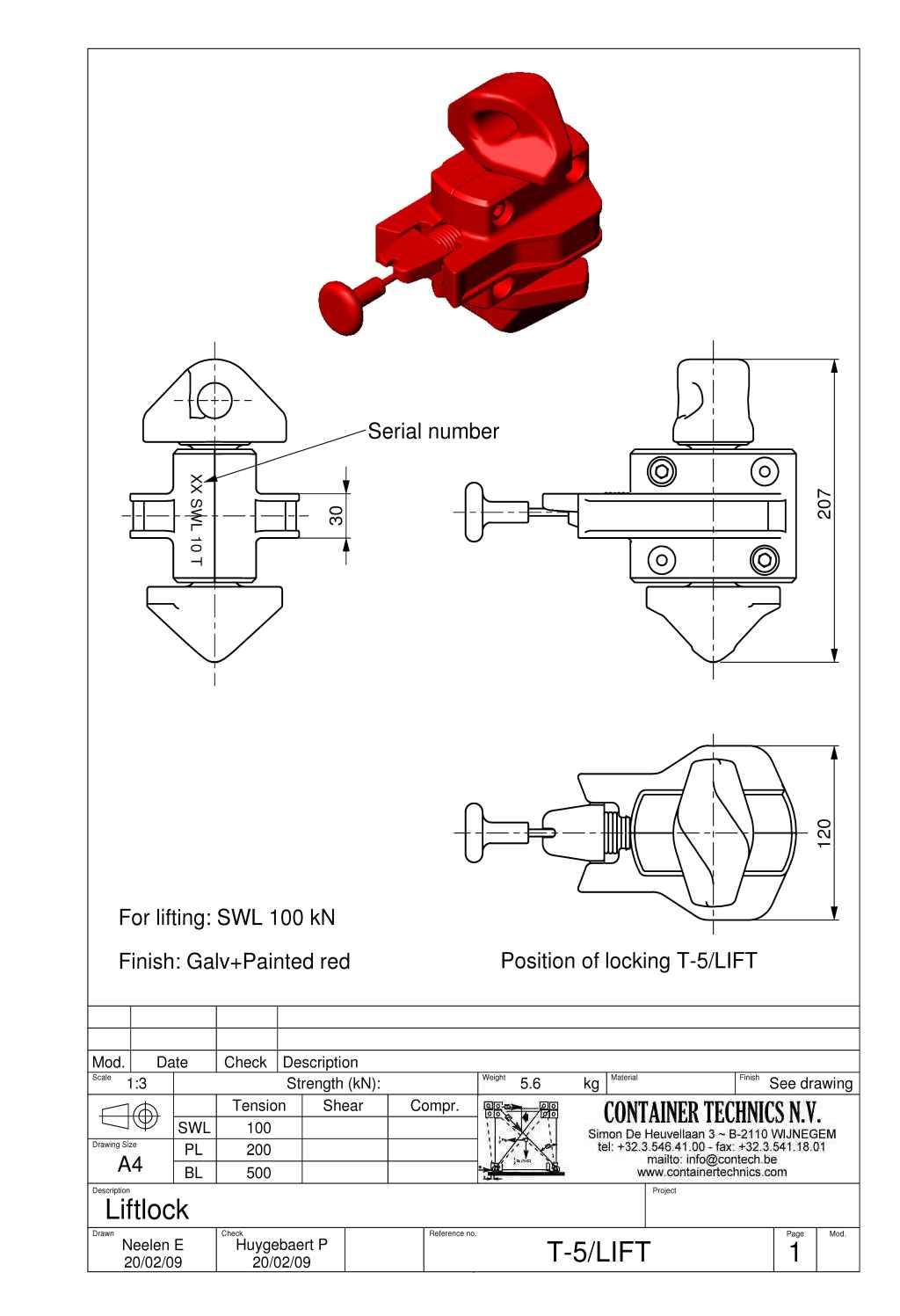 T-5/LIFT SEMIAUTOMATIC LIFTING TWISTLOCK