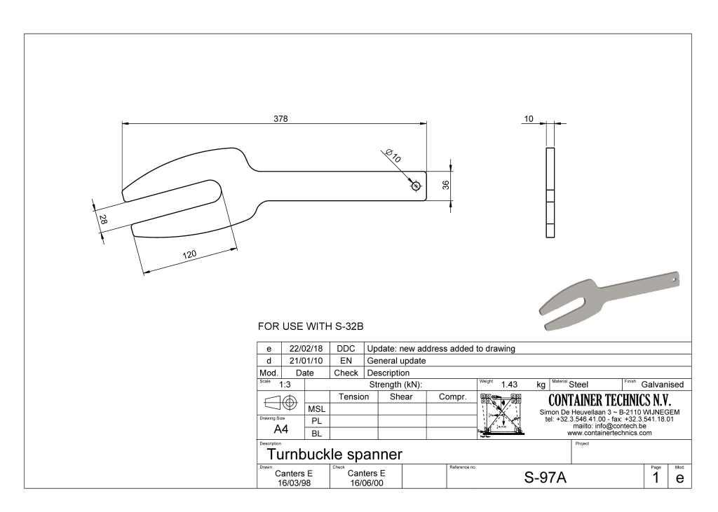 S-97A spanner for openhouse turnbuckles