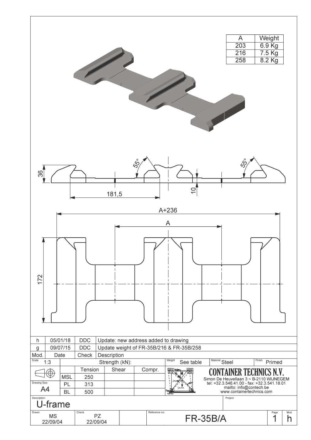 FR-35B DOUBLE U-FRAME FOUNDATION 55°