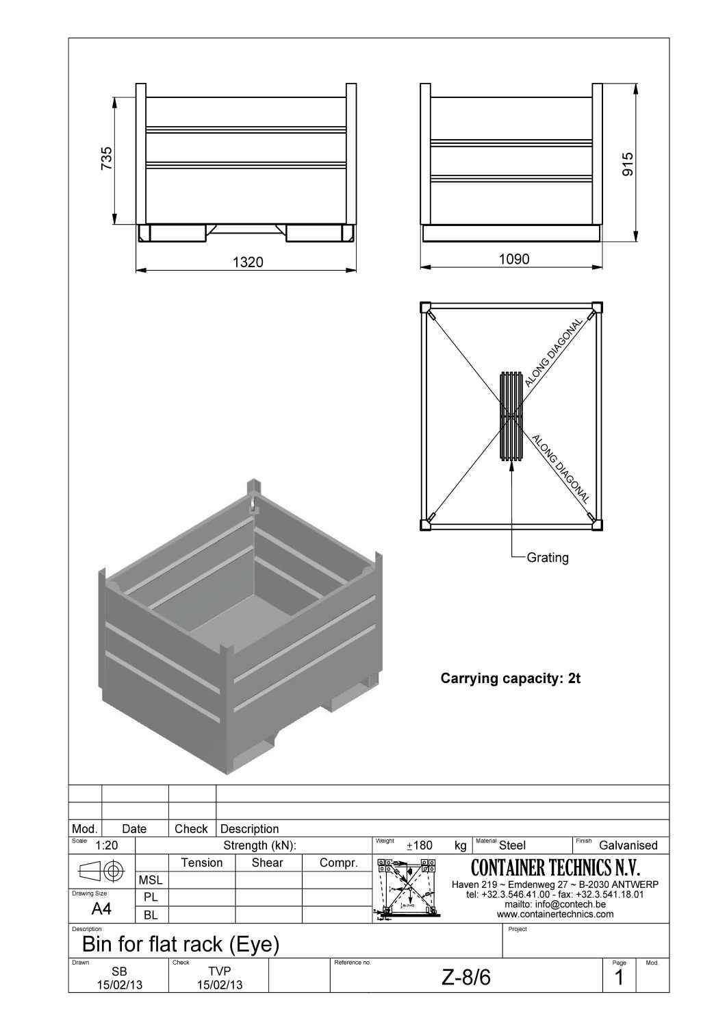Z-8/6 bin for flat rack