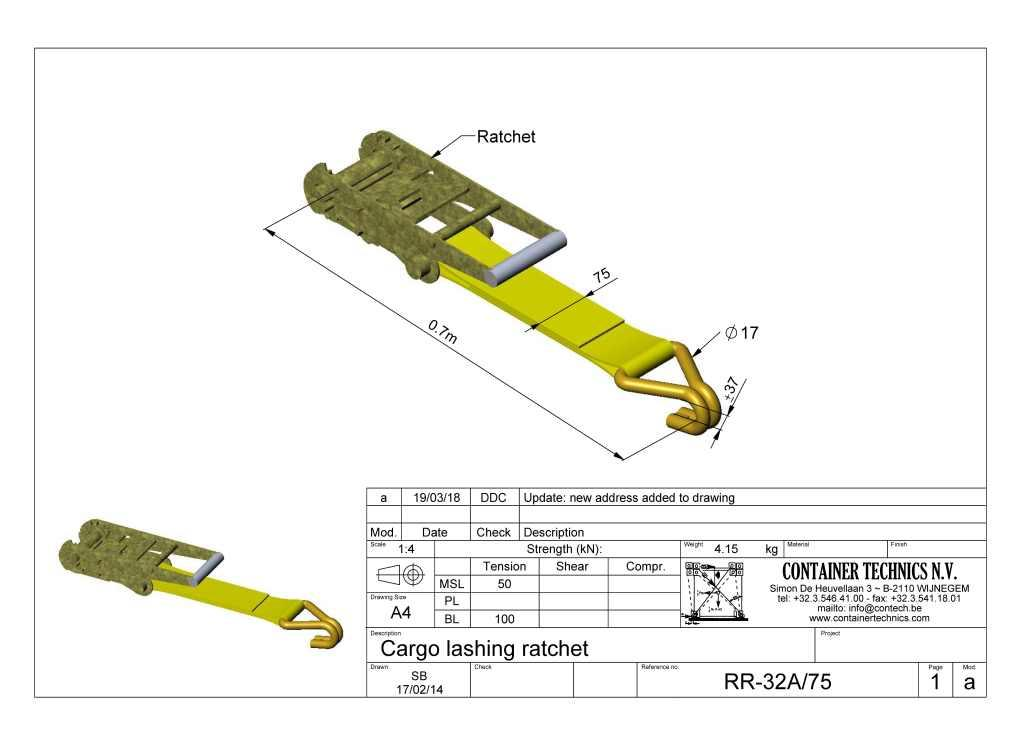 RR-32A/75 Ratchet for 75mm webbings