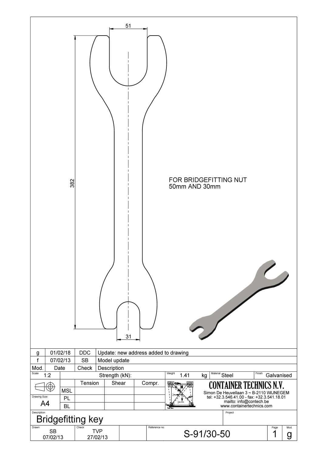 S-91 Spanner for bridgefitting