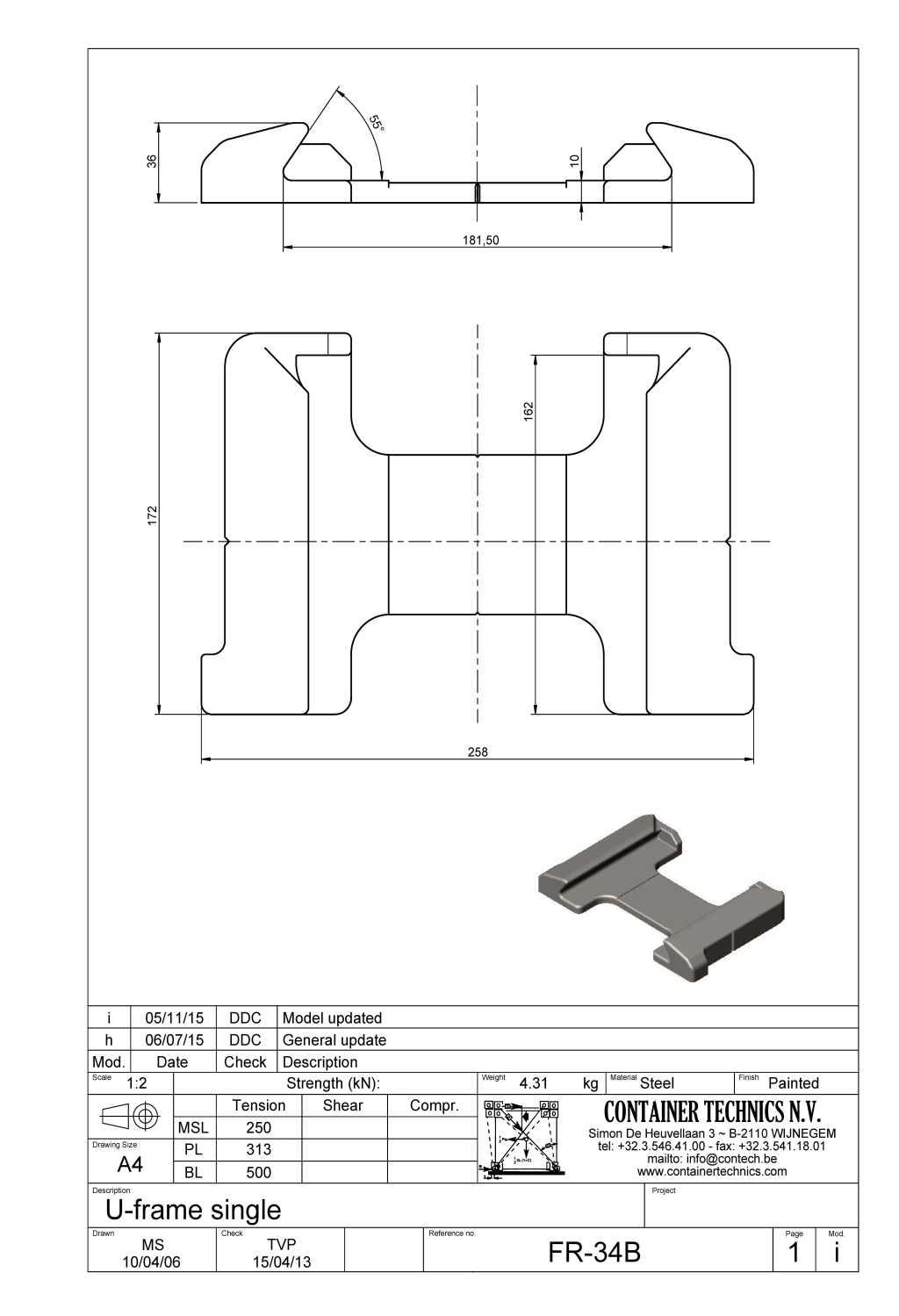 FR-34B RAISED SINGLE U-FRAME FOUNDATION 55°